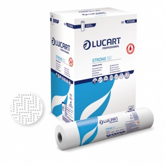 Rola medicala din hartie, tratata antimicrobian, alba - Strong 50 Joint, LUCART, latime 50cm, lungime 50m