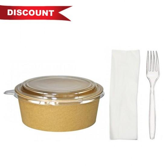 Pachet 10 x set Caserola Salata si 1 bax Furculite unica folosinta si servetel